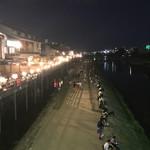 まんざら - 夜の鴨川  川床の宴