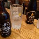 炭火ホルモン焼き 夏冬 - ホッピーと瓶ビール