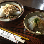 鹿火屋 - 料理写真:くず餅 350円 ところてん 300円