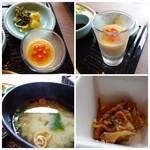あんざ - ◆上:ミニ茶碗蒸し・・冷製で上にイクラが盛られています。 ◆左下:お味噌汁。 ◆右下:小鉢。冷たいままだされ、お肉の脂が固まっていました。 でできれば温めて出されるといいですね。
