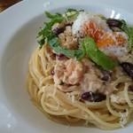 ハーブ キッチン Rosmarino - 料理写真:パスタ・スープ・前菜・ドリンクセット(980円) 赤いんげんと鶏ササミのみそクリーム ラジウム卵のせ