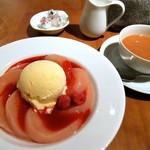 お茶とお菓子まやんち - ピーチメルバ&ミルクティー♡