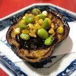 カド - 米ナスの味噌田楽玉蜀黍と枝豆