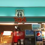 カフェ・ルート66 ROY's cafe - ドリンクバーとお店のロゴ