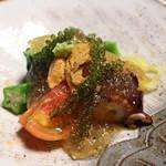 日本料理 きた川 - 先付け 根室雲丹 明石蛸 素麺南瓜 オクラ アメーラトマト 海ブドウ