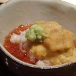 菊鮨 - ◆いくら・余市のムラサキウニ。 直送された雲丹もいい味わいですが、イクラのお味付がいいこと。