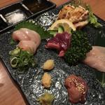 hen鶏 ながら - 「盛り合わせ(5種・刺身)」(2017.08)