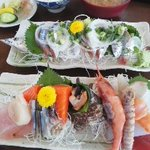 一力 - 刺身定食と秋刀魚の刺身