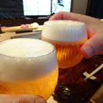 菊鮨 - まずはビール。