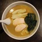 麺者 服部 - とろ葱塩らぁめん(750円、真上から)