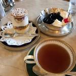 にしむら珈琲店  - ケーキセットとコーヒーゼリー