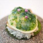 72577368 - ランチコース 6500円 のハマグリ ハマグリのエキスと青さ海苔のゼリー 紫蘇の花