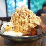 72579427 - コーヒーかき氷 1220円 のブラウンシュガーゼリー、パンナコッタ、クッキークリームアイス