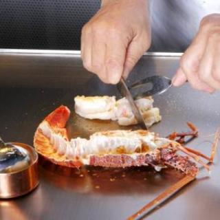 旬をいただく新鮮魚介を鉄板焼きで
