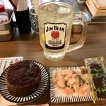 立ち呑み串カツ田中 - ガリ〆鯖&だいこん土手煮&ジムビームハイボール