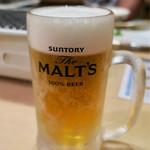 ホルモンまつや - 生ビール(税抜450円)