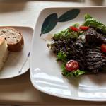 72644859 - 自家製パン、山形県産米沢牛レバーのグリル サラダ仕立て バルサミコ風味+300円