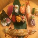 寿司ろばた 八條 - 特上大ネタ寿司定食1,600円 茶碗蒸し、みそ汁付き ★3.9