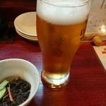 72651118 - 生ビール¥480とお通し。