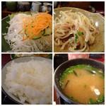 禅 - ◆野菜サラダ・・ドレッシングは卓上に置かれ、好きなだけかけられるのはいいですね。 ◆小鉢は「もやし」・・これ鰹風味で美味しいこと。 ◆ご飯とお味噌汁。