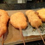 禅 - ◆左から「海老」「茄子の肉挟み」「うずら卵とウインナー」「蓮根」