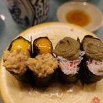まさのすけ本店 - 料理写真:かに味噌軍艦 150円 月見納豆 150円