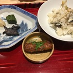 銀座 しのはら - 香の物 鳶舞茸辛煮、べったら漬け、野沢菜 鰻の唐揚げ