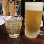 きはるの胡麻鯖や - ビールと梅酒