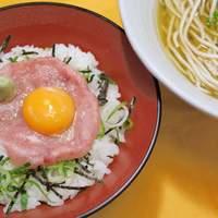 潮屋 - ネギトロ丼とうどん(そば)のセット 500円。