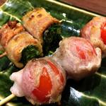 やさい肉まき串 つむじ - 「ニラ・プチトマト」