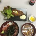 柳橋食堂 - 魚フライ、食欲がなくなる色。味噌汁具僅か、しょっぱい。漬物コメントしたくない。