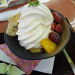 紫波サービスエリア 下り レストラン - はちみ・ルク・サンデー390円