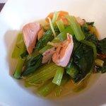 筍 - 鮭と小松菜の煮物