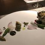 D'ORO HATSUDAI - 長崎県産蒸しサザエのフリット、肝のソース 蕗の薹のタプナード