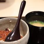 味あら井 - 松茸土鍋ご飯 いくら乗せ&伊勢海老汁