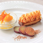 ラ・カロッツァ - スイートポテト オレンジグラッセに酸味のきいたジュレをかけて