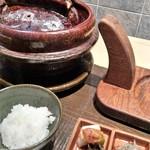 72759269 - 土鍋ご飯 香の物・生シラス