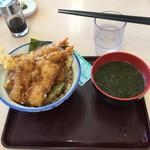 さん天 - イカと海老の天丼と、焼きバラ海苔の味噌汁