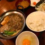 金太郎 - 牛鍋(牛すき焼き)定食500円税込