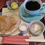 菊水茶廊 - わらび餅とアイスの風流セット