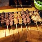 道太 - 料理写真:焼鳥(塩) 牛舌、カシラ、ぼんじり、砂肝、正肉