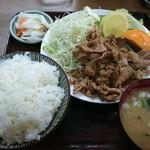 さかさ食堂 - 焼肉定食(にんにく焼き) 900円
