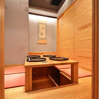大切な会合や接待に重宝される個室を2室完備