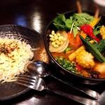 Rojiura Curry SAMURAI. - 1日分の野菜カレー(ライスS、+焦がしチーズ)