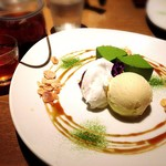 神楽坂 茶寮 - 京抹茶のレアチーズケーキと黒豆茶