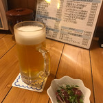 開国厨房ぼちぼち - 生ビールと付け出し