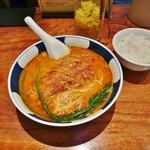 支那麺 はしご - 排骨担々麺(大辛・麺かため・ライスサービス)1,000円