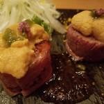 橙家 - 炙り和牛と生雲丹の肉巻き~ポン酢ジュレ~