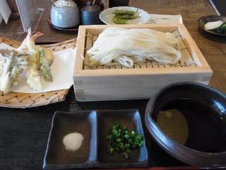 すじかま - 天ぷら付きざるうどん(半斤)