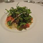 リストランテ カノフィーロ - 真鯛のカルパッチョ ガスパチョのソースと焼きナス